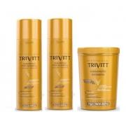 Trivitt Profissional Hidratação + 2 Shampoo Pós Quimica 1Lt