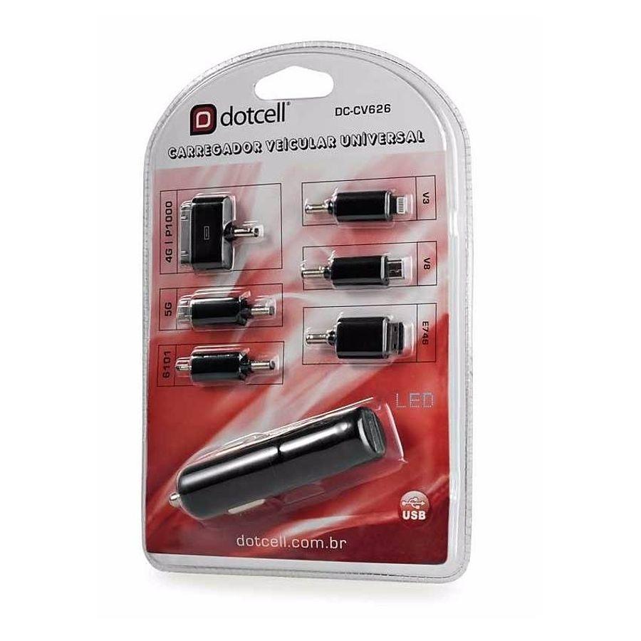 Carregador Veicular Universal 6 Plugs DC-CV626 - Preto - Dotcell