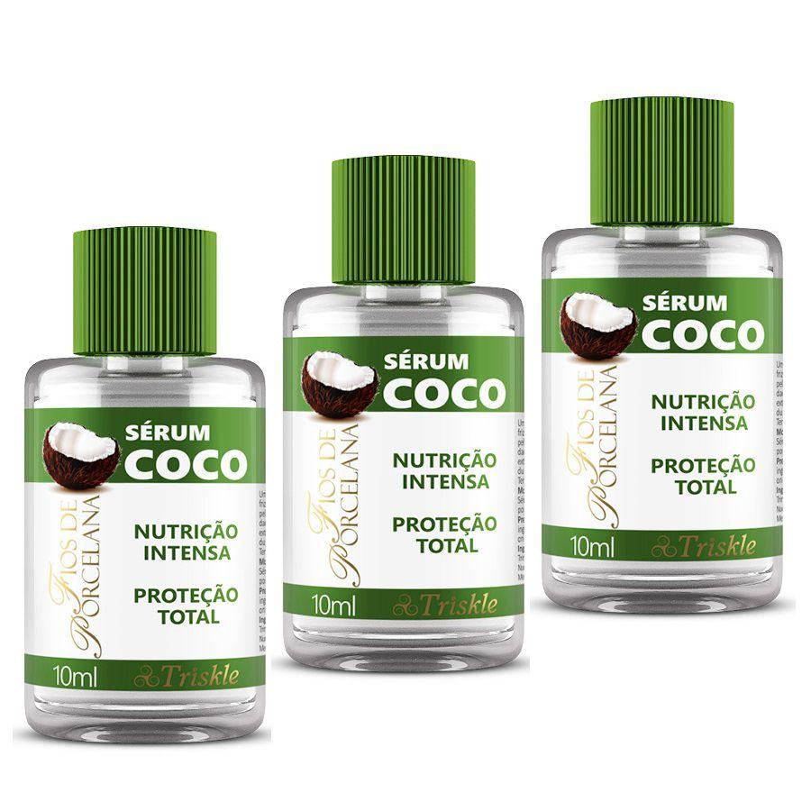 Combo Protetor Térmico Sérum Coco Fios de Porcela Triskle 10ml - (3Un)
