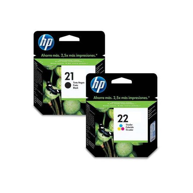 Kit Cartucho Hp 21 Preto + 22 Tri-Color