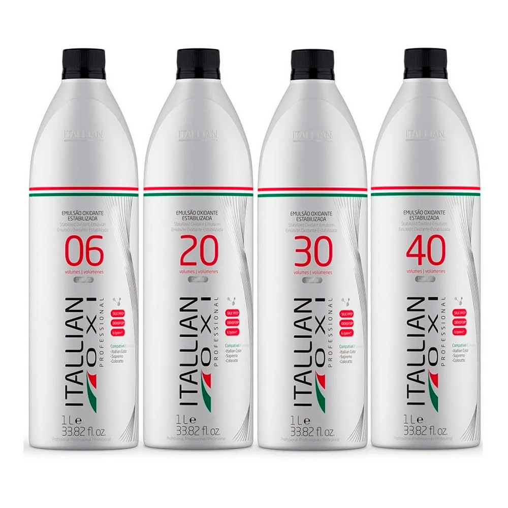 Kit Itallian Color Emulsão Oxidante Estabilizada OXI 06,20,30 e 40 Vol. 1L