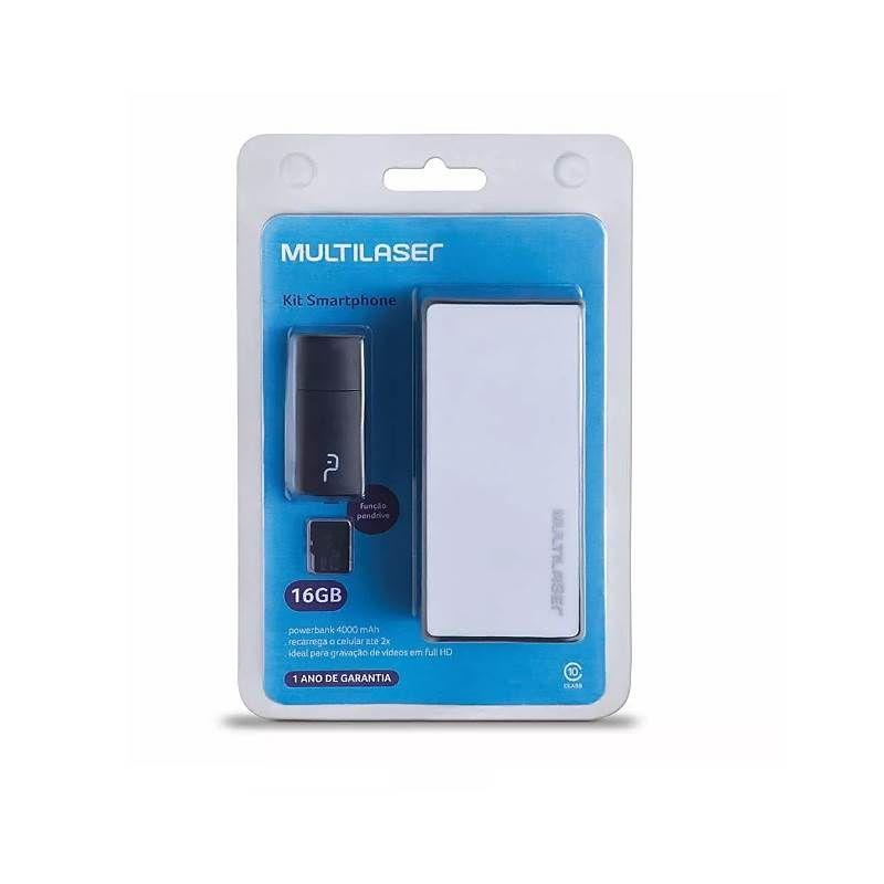 Kit Power Bank + Pendrive + Cartão de Memória Micro SD 16GB Multilaser