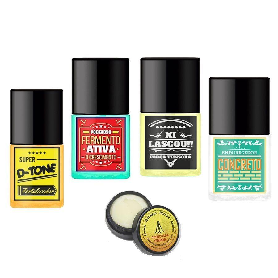 Kit SOS Unhas Top Beauty Tratamento das Unhas e Cutículas (5 ITENS)