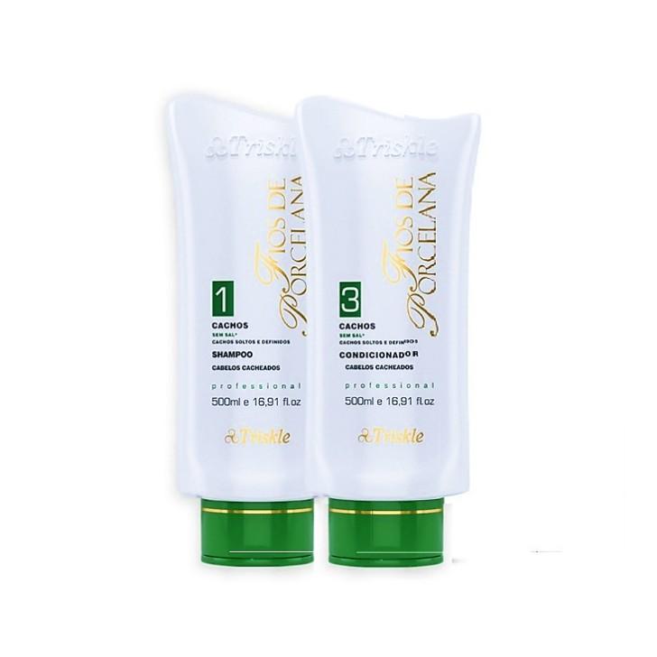 Kit Triskle Cachos Shampoo e Condicionador Fios de Porcelana 500ml