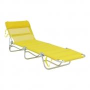 Cadeira Espreguiçadeira  Dobrável Com Regulagem  Amarela Bel