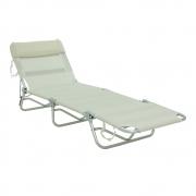 Cadeira Espreguiçadeira  Dobrável Com Regulagem Branco Bel
