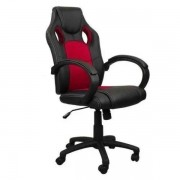 Cadeira Presidente Gamer Em Couro Pu Preta Com Vermelho Pelegrin Pel-3002