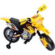 Moto Cross Preto Elétrica Infantil 6V Amarela - Belfix