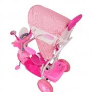 TRICICLO INFANTIL COM CAPOTA REMOVIVEL ROSA 2 EM 1  PASSEIO E PEDAL BEL