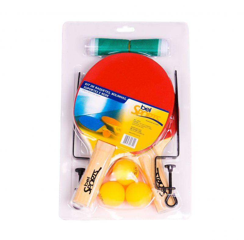 bc391b5a5 Kit 2 Raquetes De Ping Pong ( Tenis De Mesa ) + Rede + Suporte + Bola -  SportBrink