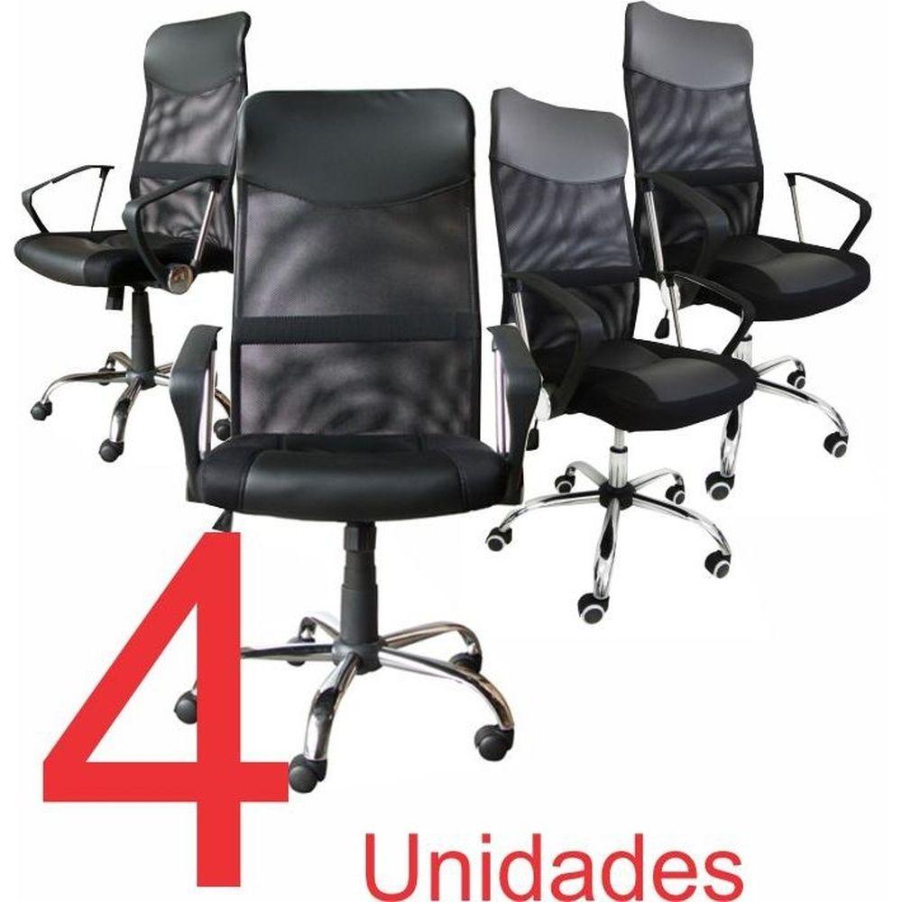KIT com 4 Cadeiras Presidente em Tela Mesh PEL-8009