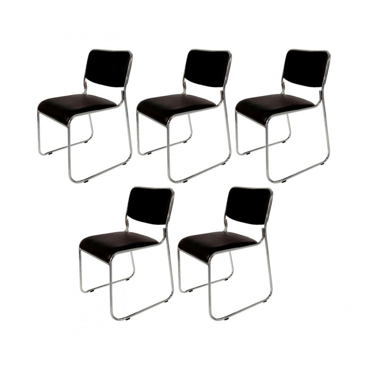 Kit Com 5 Cadeiras Universitária Pelegrin Pel-1114 Couro Pu Preta