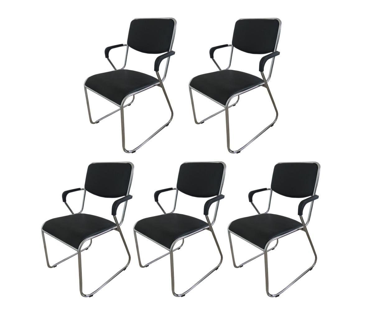 Kit Com 5 Cadeiras Universitária Pelegrin Pel-1118 Com Braço Couro Pu Preta