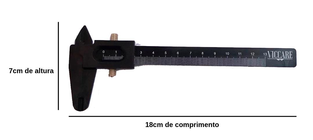 PAQUIMETRO PROFISSIONAL PARA DESIGN DE SOBRANCELHAS E MICROPIGMENTAÇÃO COM TRAVA DE METAL E MARCAÇÕES – 130MM