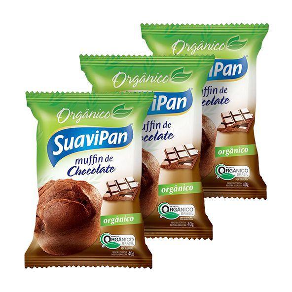 Bolinho Orgânico Muffin de Chocolate Suavipan 40g