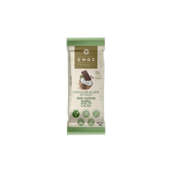Chocolate ao Leite de Coco Zero Açúcar 50% Cacau 20g
