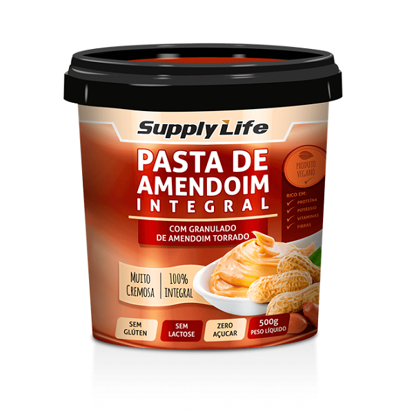 PASTA DE AMENDOIM C/ GRANULADO - SUPPLY LIFE 500g