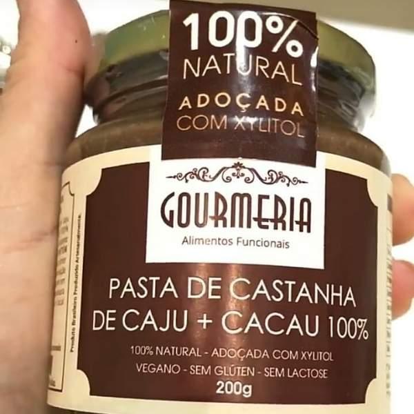 Pasta de Castanha de Caju c/ Cacau 100%  200g - Gourmeria
