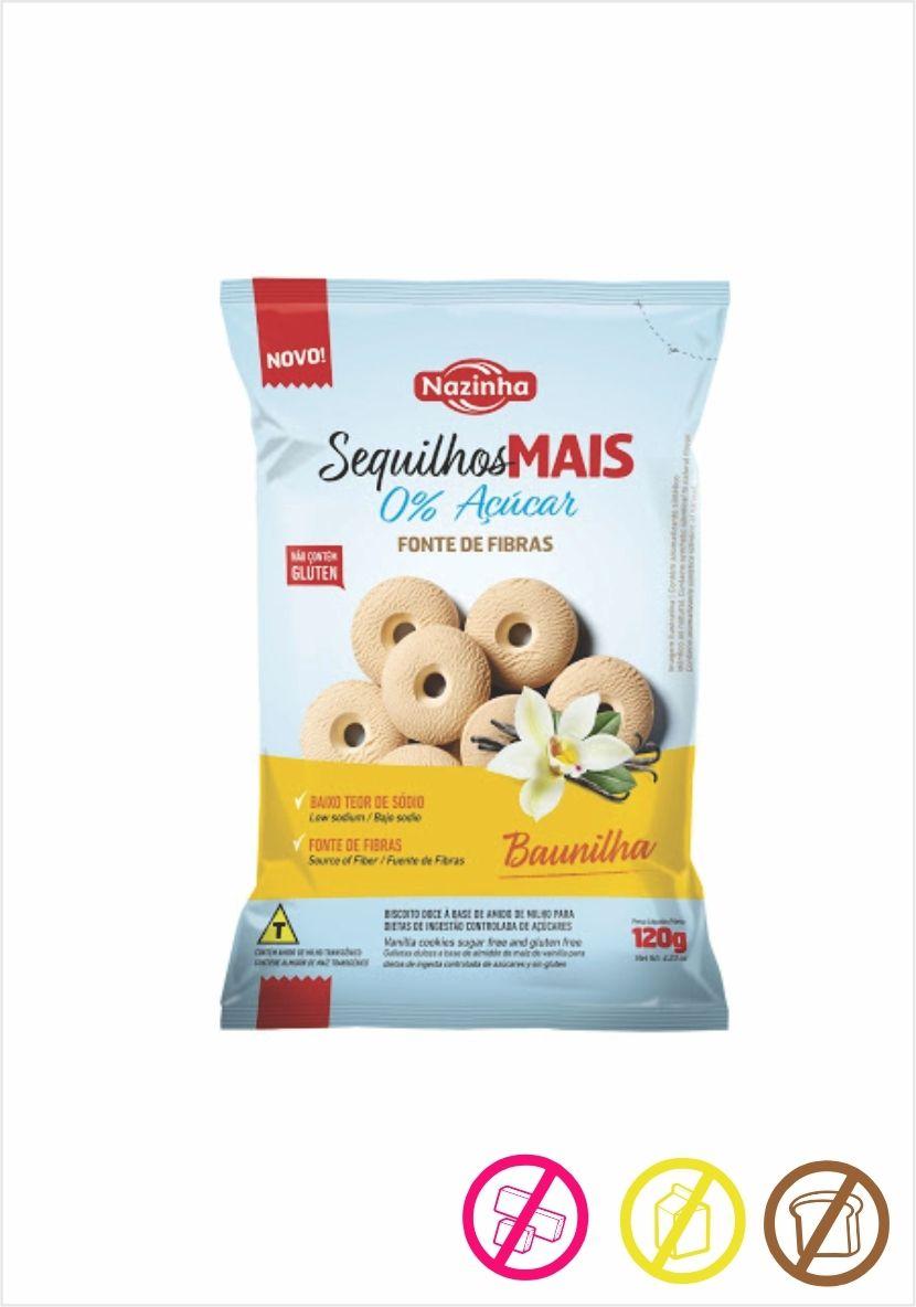 Sequilho de Baunilha Zero Açúcar , sem Gluten 120g - Nazinha