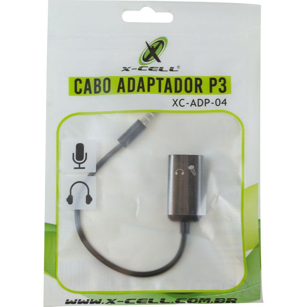 Cabo Adaptador P3 - Fone e Microfone - X-Cell
