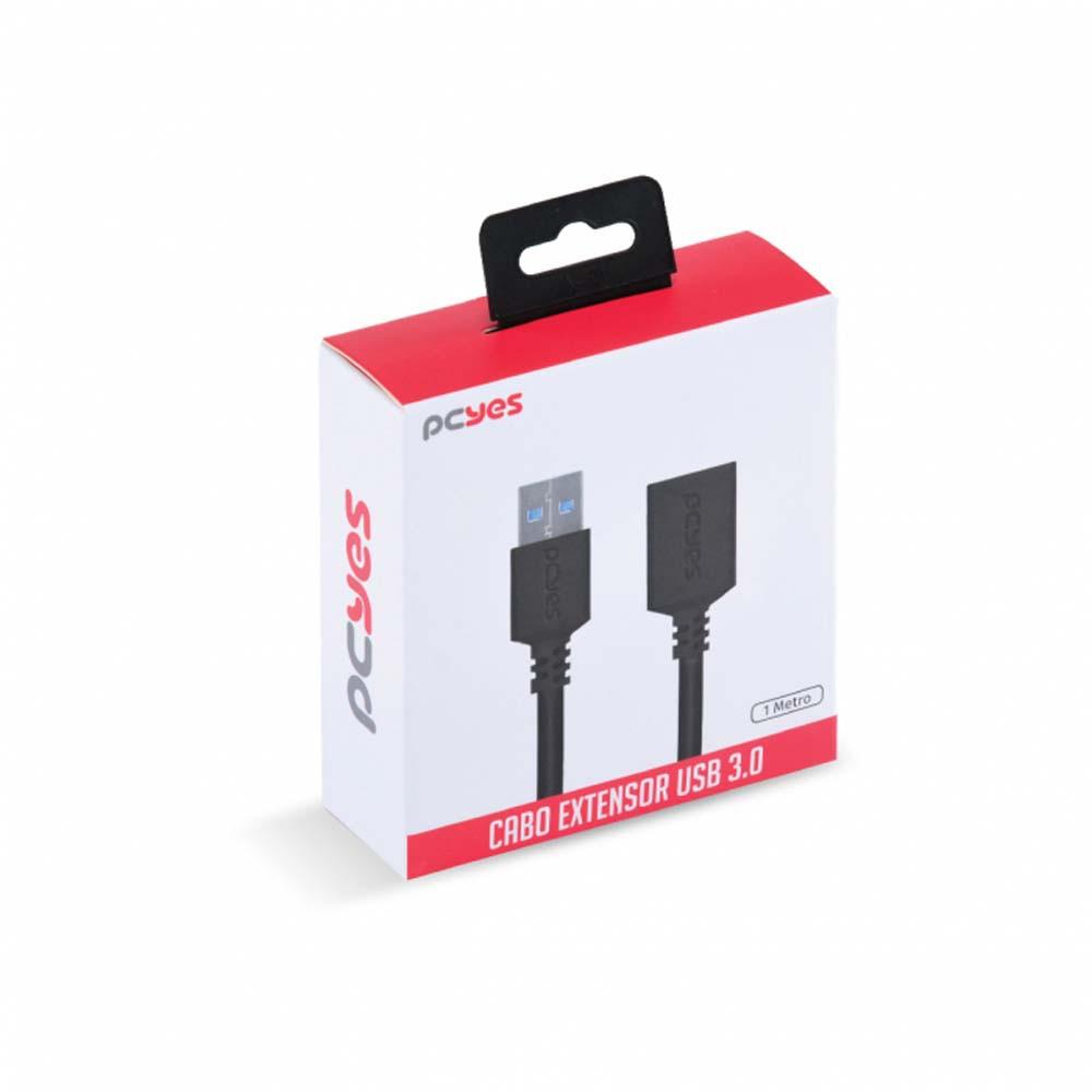 Cabo Extensor USB A 3.0 x USB A 3.0 fêmea - 1 metro - PCYES