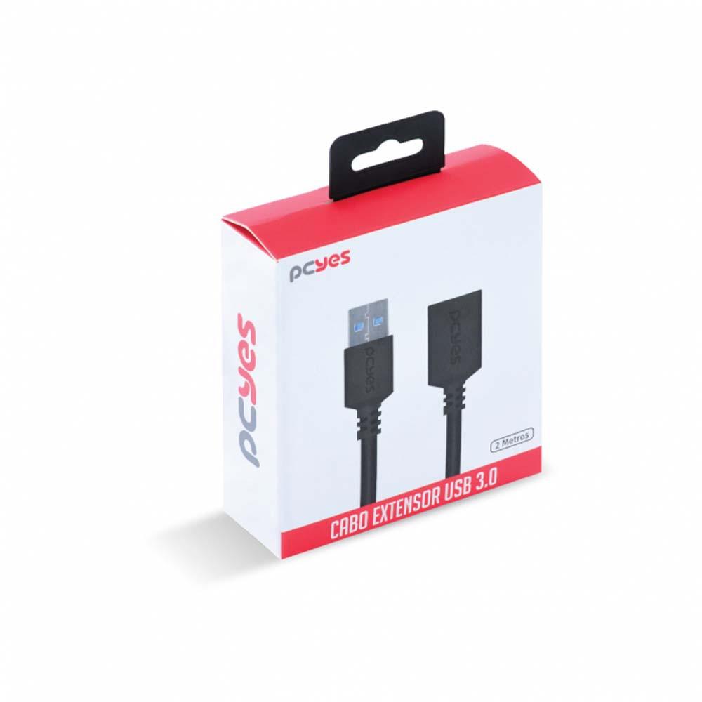 Cabo Extensor USB A 3.0 x USB A 3.0 fêmea - 2 metro - PCYES