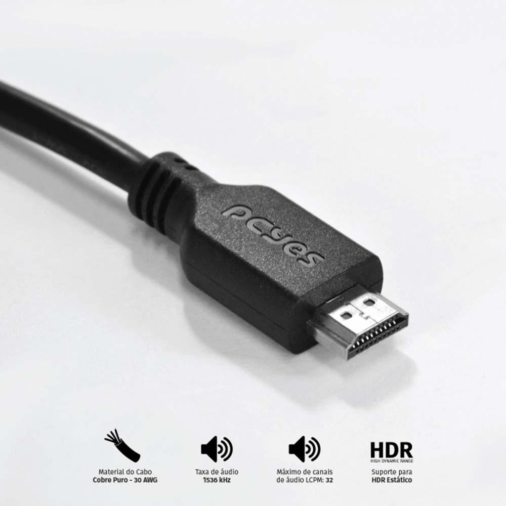 Cabo HDMI 2.0 4K - 3 metros - PCYES
