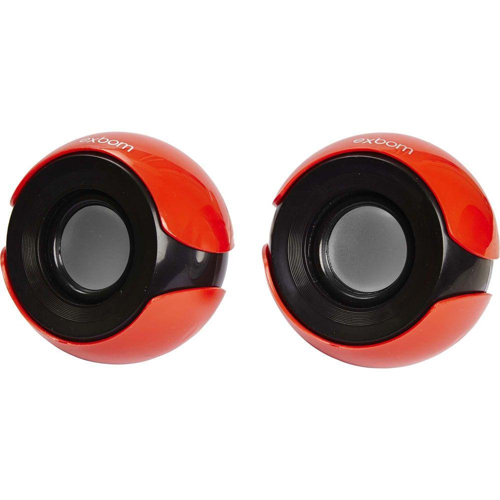 Caixa Multimídia 2.0 - 5W RMS - Vermelha/Preta - EXBOM