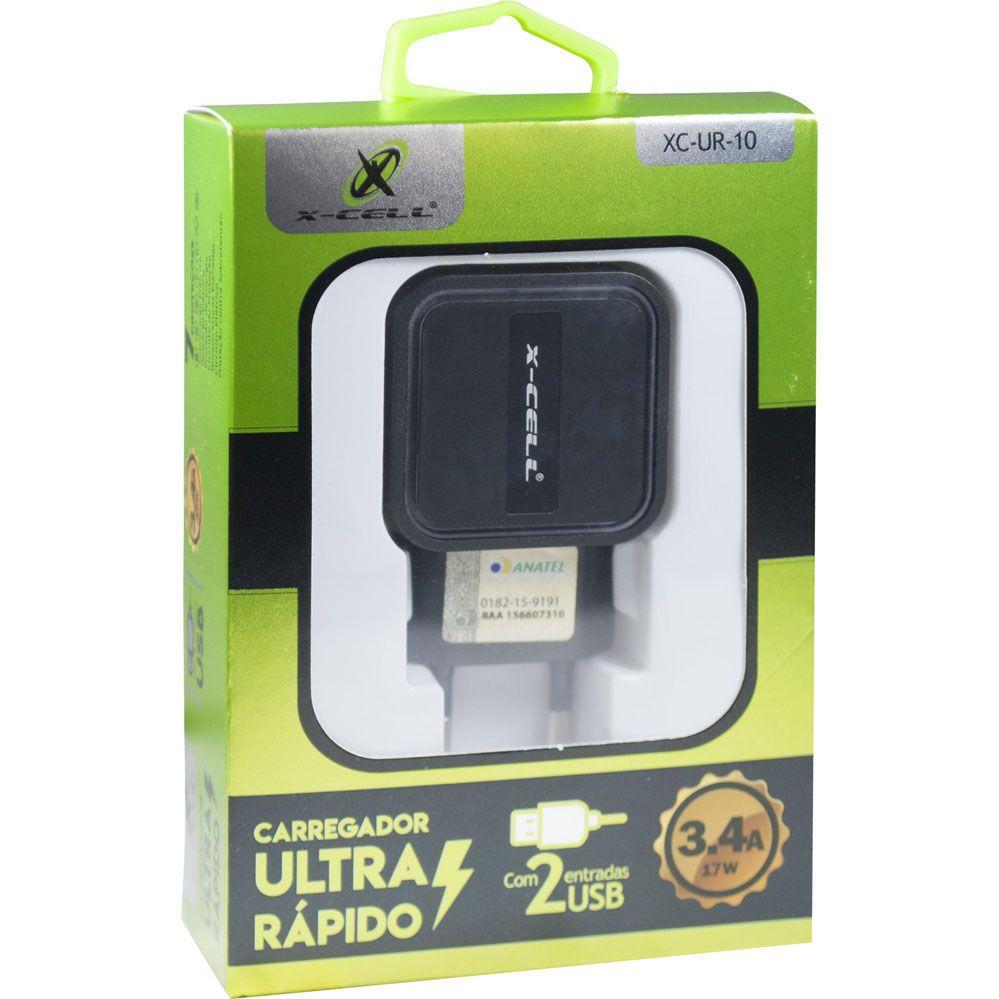Carregador Ultra Rápido 3.4A c/ 2 USB Branco X-CELL