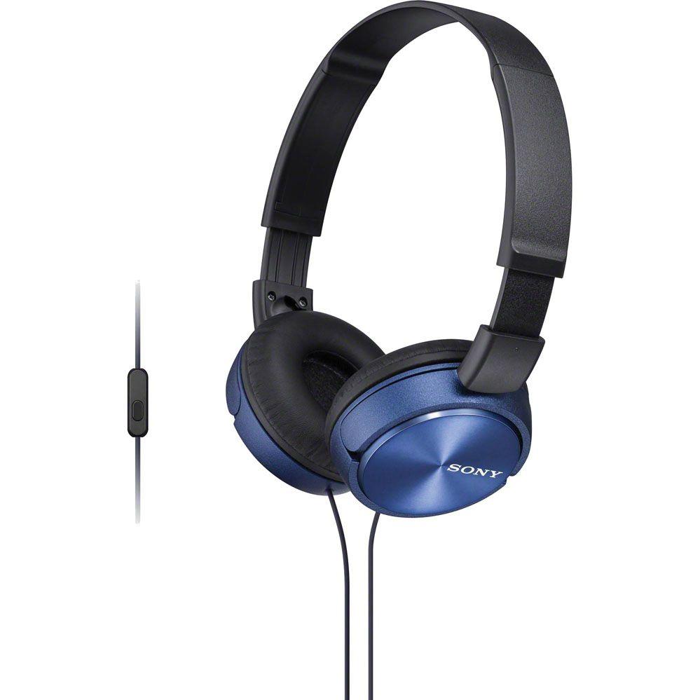 Fone de Ouvido com Microfone MDR-ZX310AP Preto/Azul - SONY