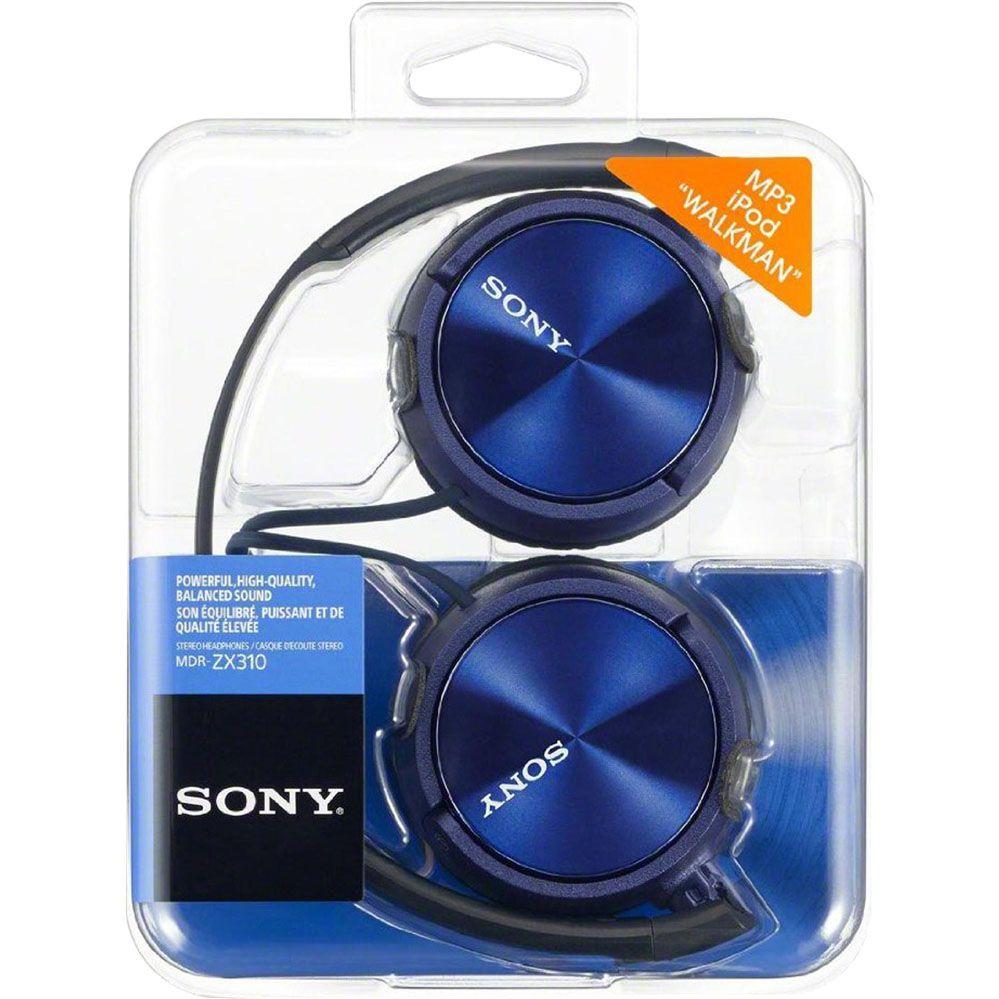 Fone de Ouvido com Microfone - Preto/Azul - SONY