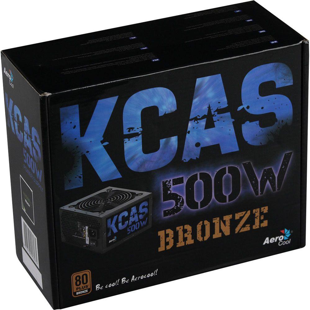 Fonte ATX KCAS 500W 80 Plus Bronze PFC Ativo AEROCOOL