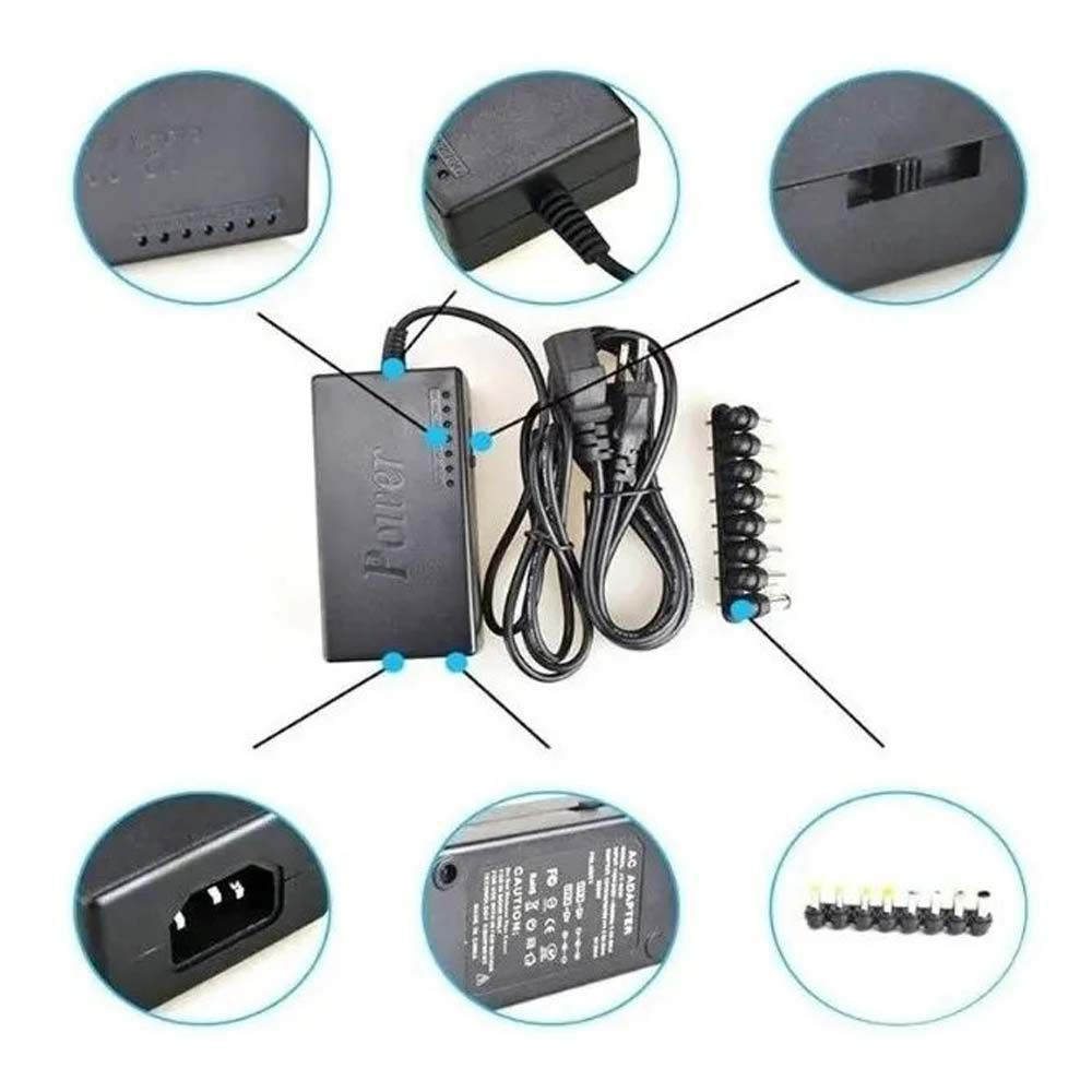 Fonte Carregador Universal para Notebook Laptop Bivolt com 9 Pinos Conectores