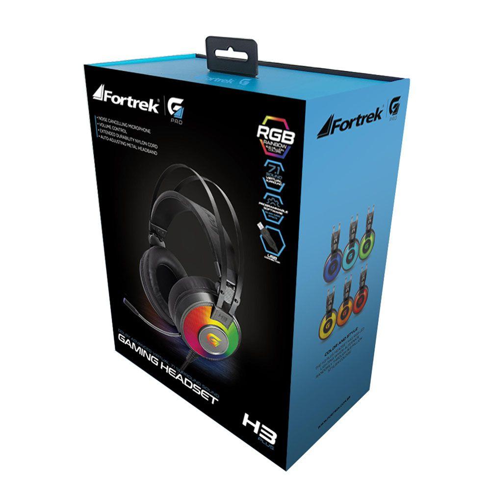 Headset Gamer - H3 Plus RGB - Som Surround Virtual 7.1 - USB - FORTREK