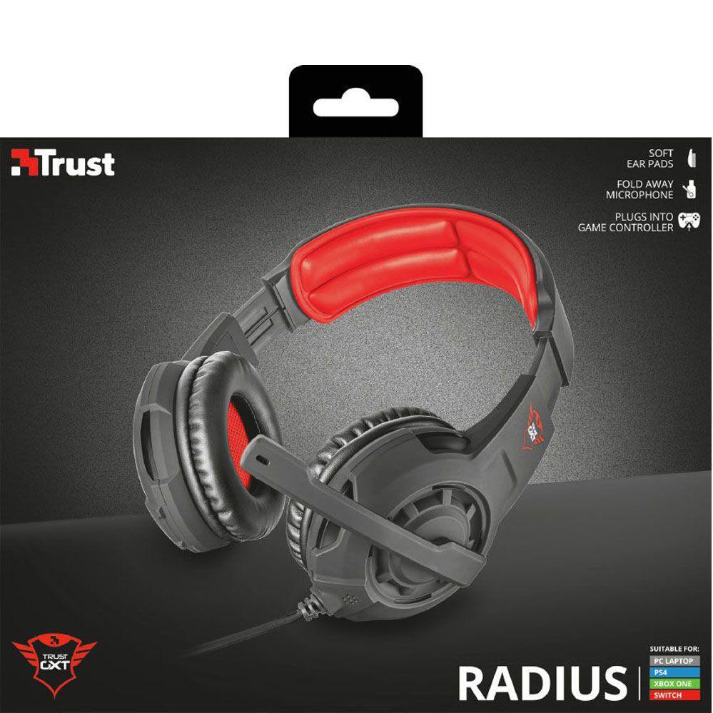 Headset Gamer - Trust Gxt 310 - Radius Preto/Vermelho - PS4 / XBOX ONE / Switch / PC