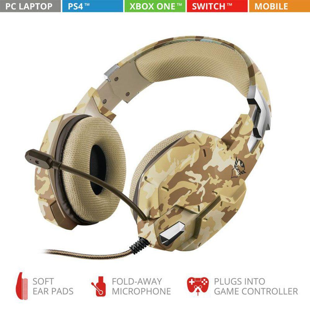 Headset Gamer -  Trust Gxt 322D - DESERT CAMO - PS4 / XBOX ONE / Switch / PC