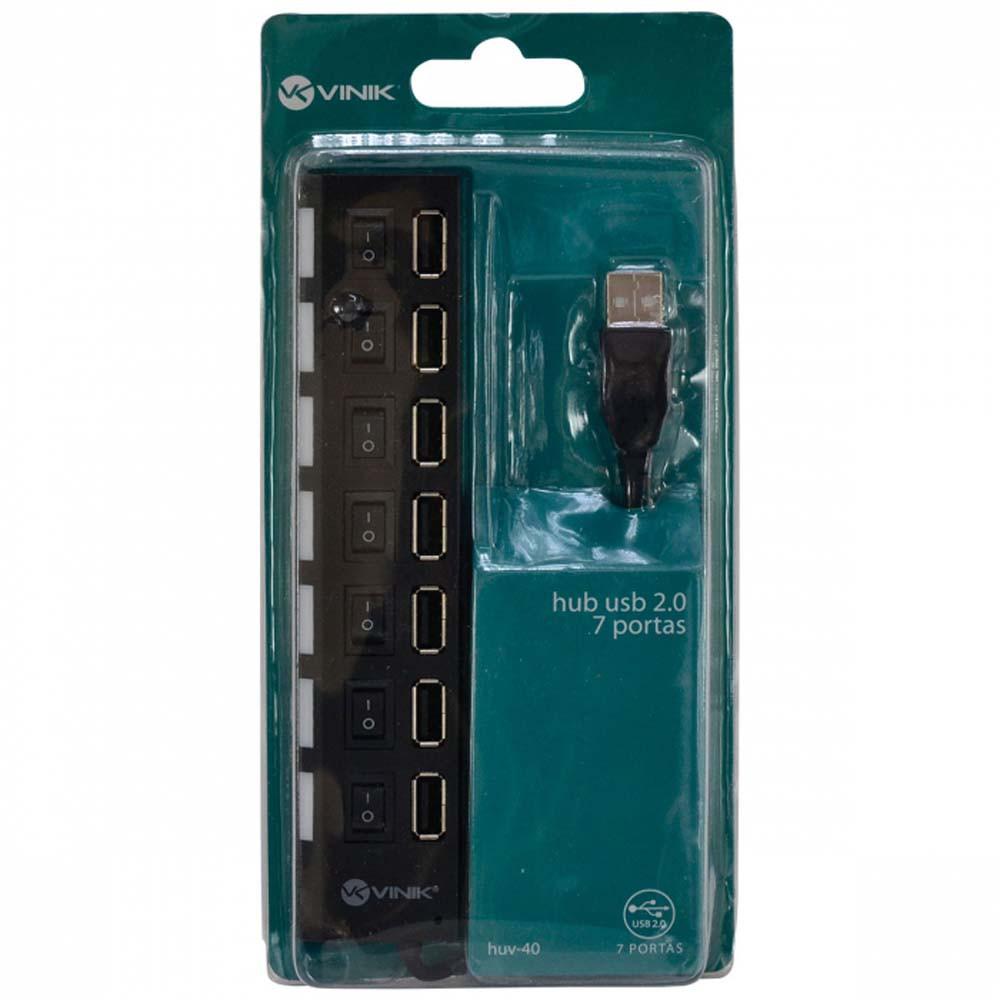 HUB USB 2.0 7 Portas com Cabo e Led Indicador Vinik