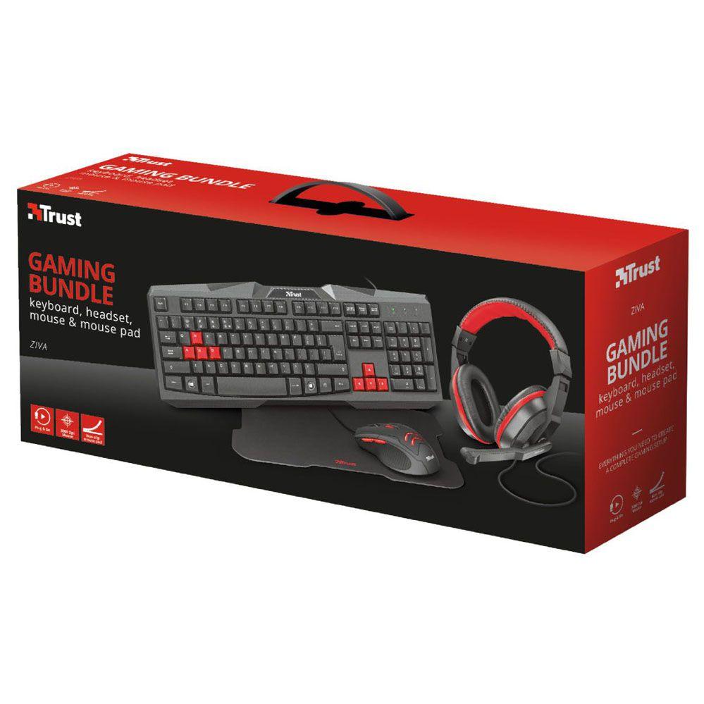 Kit Gamer - 4x1 - Teclado, Headset, Mouse e Mouse Pad - Ziva - Trust