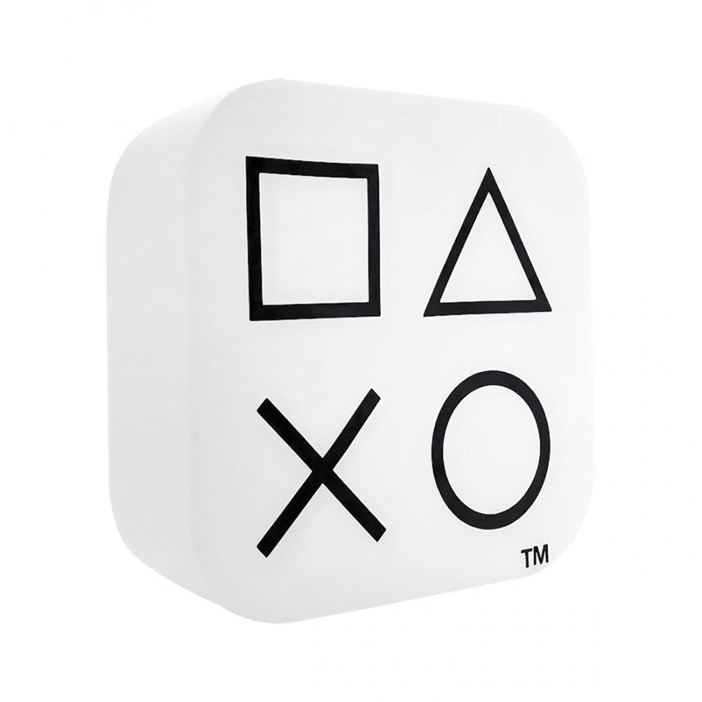 Luminária Abajur Playstation Box Ícones Branco