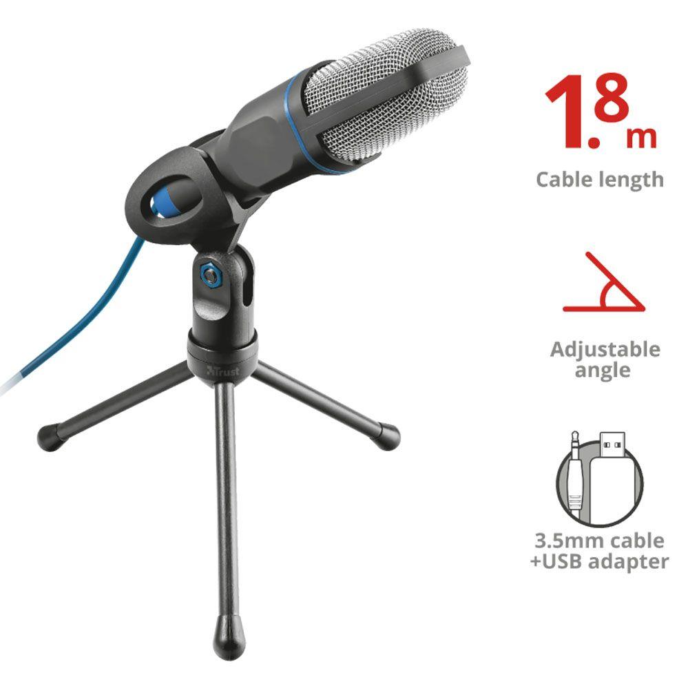 Microfone de Mesa Omnidirecional - Mico - Trust