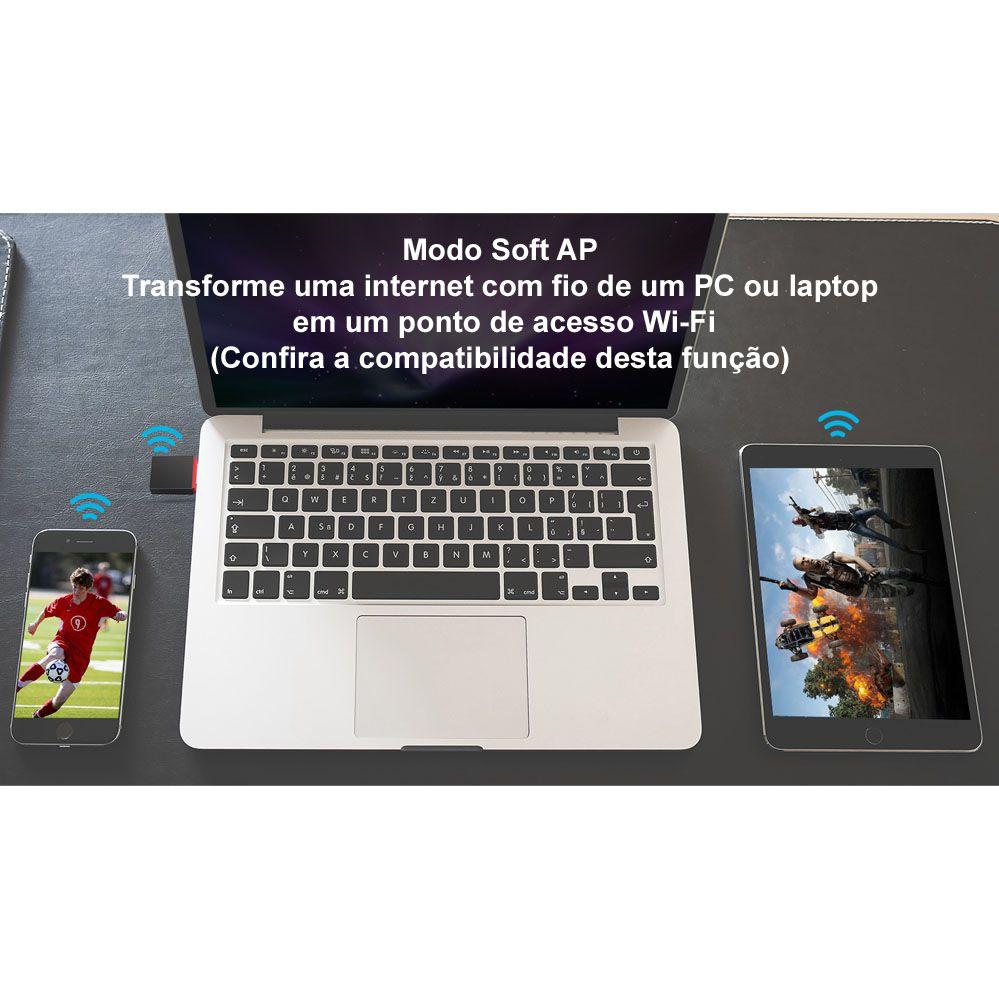 Mini Adaptador USB Wireless de 300 Mbps - U3 - Tenda