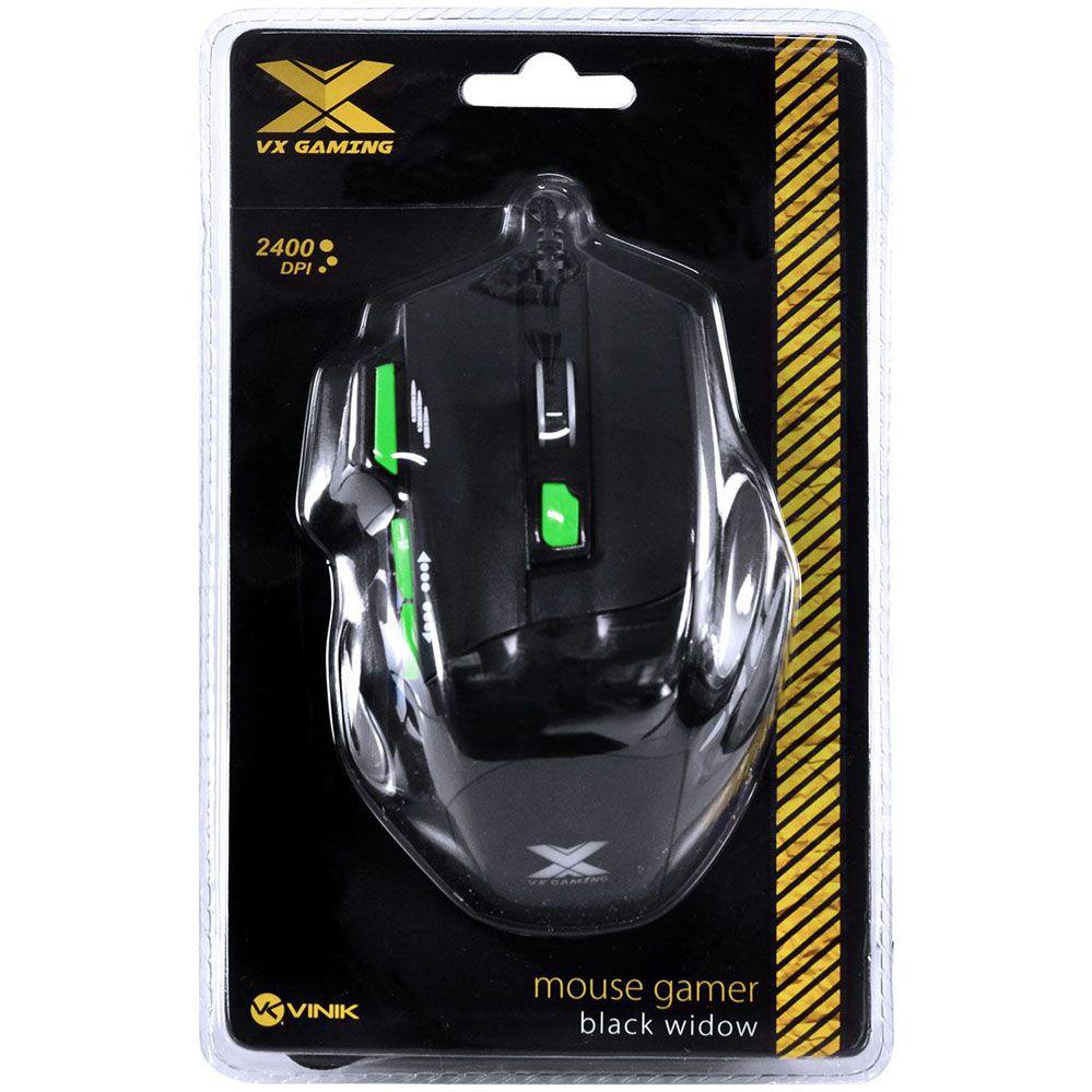 Mouse Gamer - Black Widow - 6 botões - 2400 DPI - PT/VD - Vinik