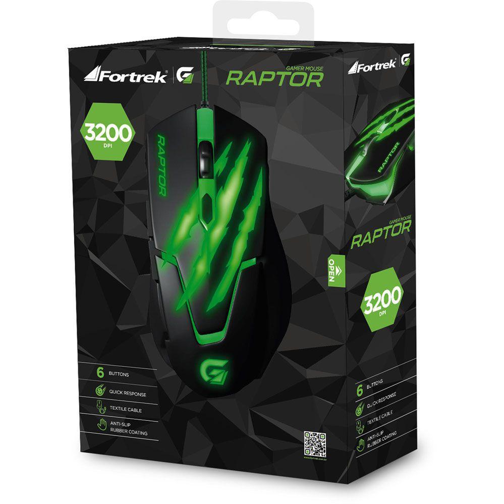 Mouse Gamer - Raptor USB - 3200 DPI - Preto/Verde - FORTREK