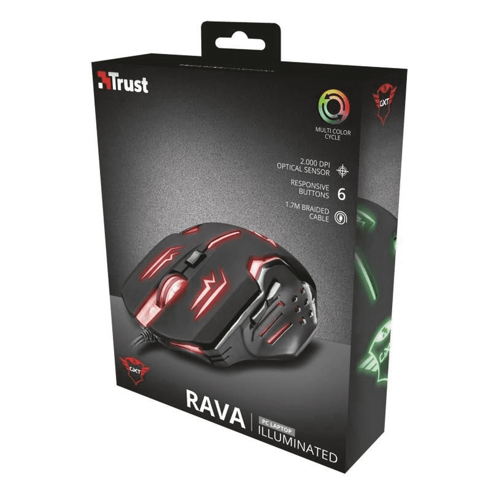 Mouse Gamer Rava Illuminated GXT108 LED 2000 DPI Trust
