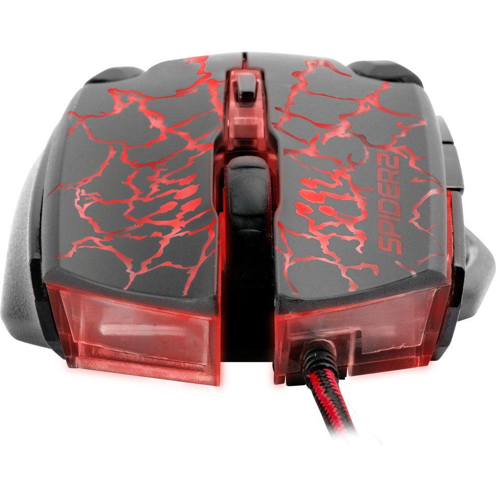 Mouse Gamer - SPIDER 2 - 3200 DPI - Preto/Vermelho - FORTREK