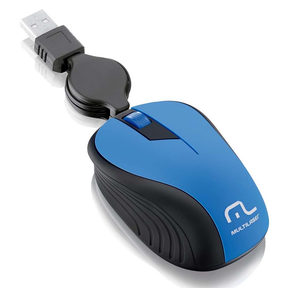 Mouse Retrátil USB Emborrachado Azul Multilaser