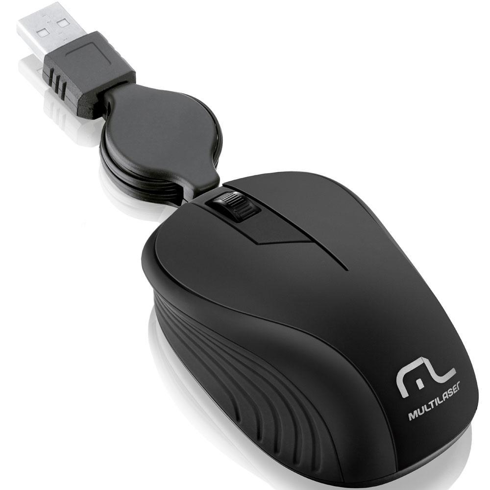 Mouse Retrátil USB Emborrachado Preto Multilaser