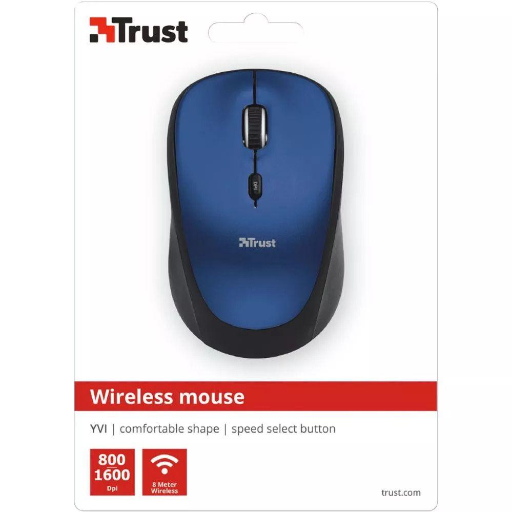 Mouse Sem fio - Yvi - 1600 DPI - Azul - Trust