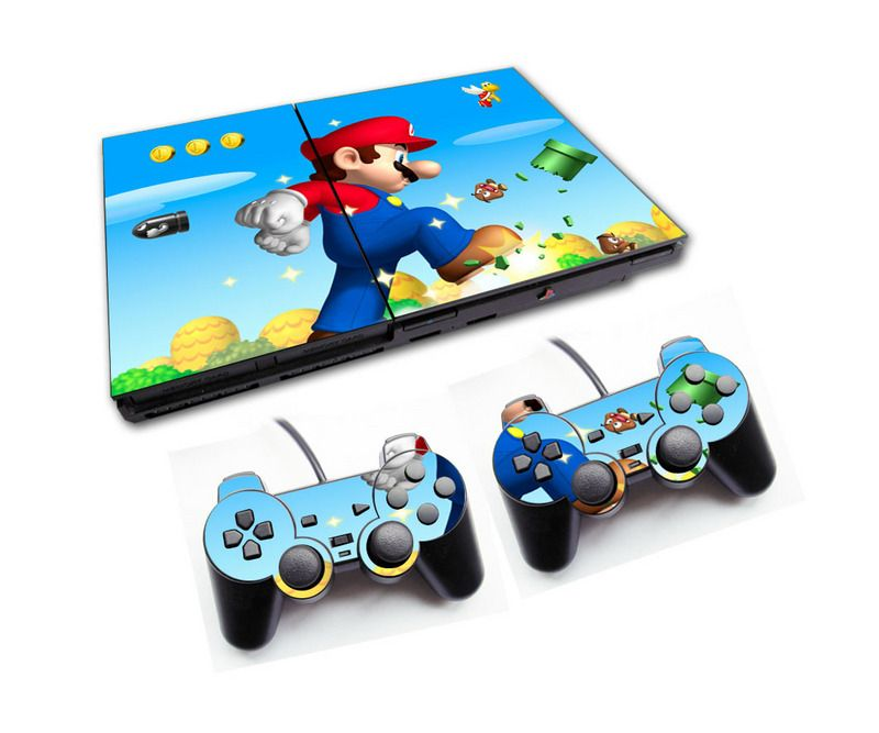 PS2 - Console PlayStation 2 Slim com 2 Controles - Mário Bros 5
