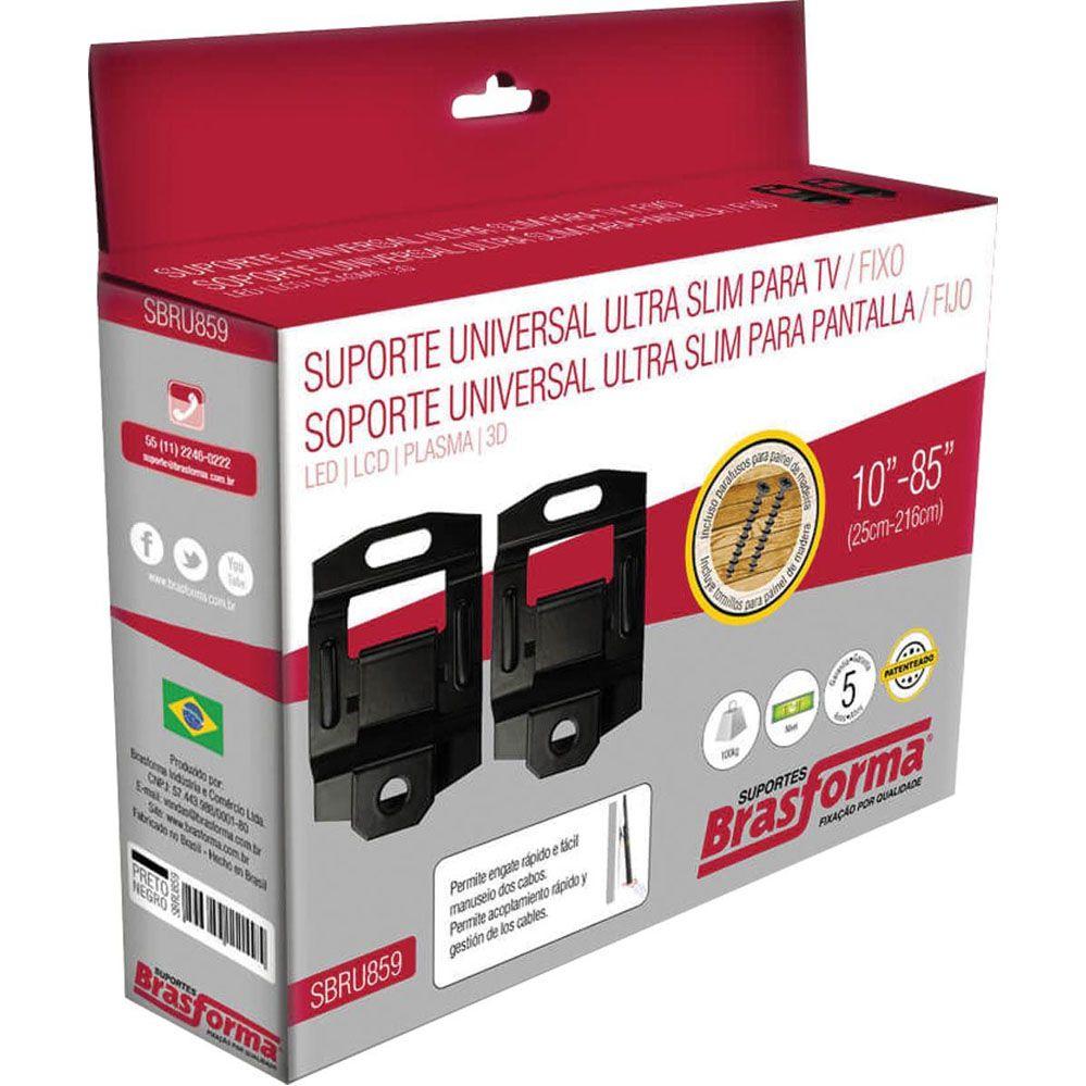 "Suporte p/ TV - Fixo - 10"" a 85"" - SBRU859 - Brasforma"